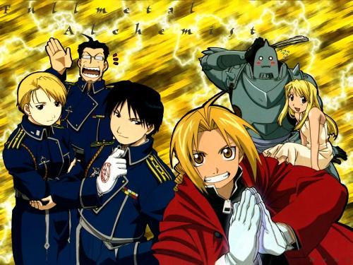 Hiromu Arakawa, BONES, Fullmetal Alchemist, Maes Hughes, Riza Hawkeye Wallpaper