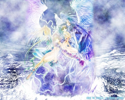 Aoi Nanase, Angel Dust, Seraph (Angel Dust), Akiho Kudou, Yuina Hatori Wallpaper