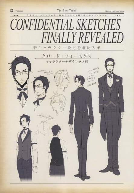 A-1 Pictures, Kuroshitsuji, The Black Tabloid, Claude Faustus, Character Sheet