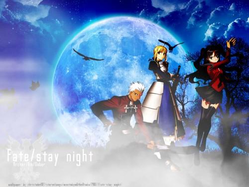 TYPE-MOON, Fate/stay night, Rin Tohsaka, Saber, Archer (Fate/stay night) Wallpaper