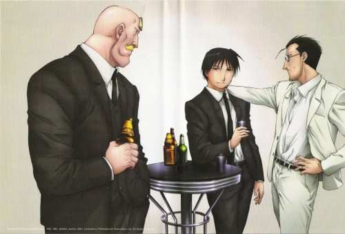 BONES, Fullmetal Alchemist, Maes Hughes, Alex Louis Armstrong, Roy Mustang
