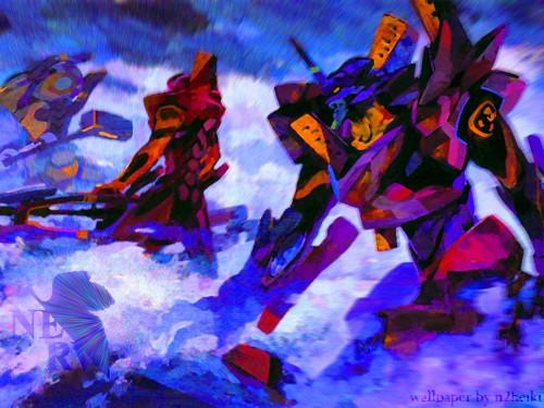 Yoshiyuki Sadamoto, Gainax, Neon Genesis Evangelion, Unit-01, Unit-02 Wallpaper