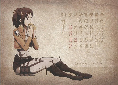 Hajime Isayama, Production I.G, Shingeki no Kyojin, Shingeki no Kyojin School Calendar 2014, Sasha Blouse