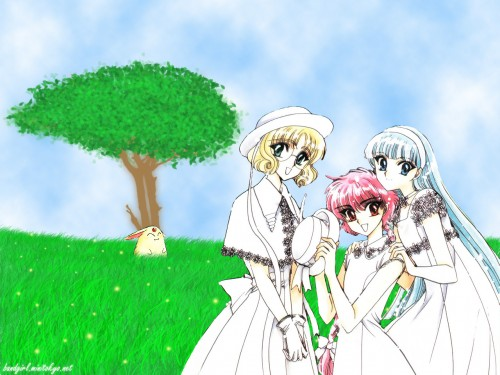 CLAMP, Magic Knight Rayearth, Umi Ryuuzaki, Hikaru Shidou, Fuu Hououji Wallpaper