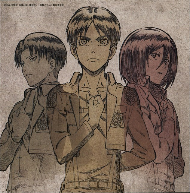 Production I.G, Shingeki no Kyojin, Levi Ackerman, Eren Yeager, Mikasa Ackerman