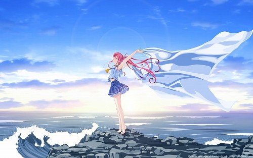 Kurehito Misaki, Abhar, Deep Blue Sky & Pure White Wings, Tomoka Miyamae, Vector Art Wallpaper