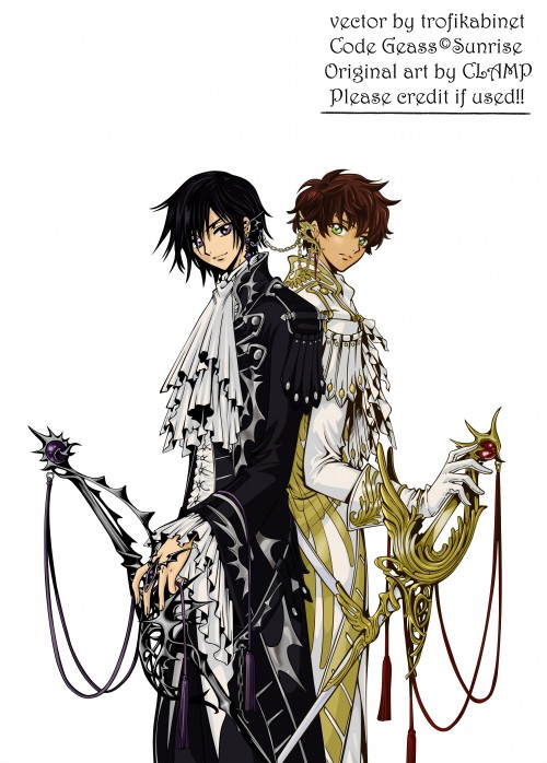 CLAMP, Lelouch of the Rebellion, Suzaku Kururugi, Lelouch Lamperouge, Vector Art