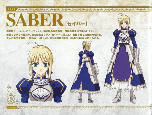 Studio DEEN, TYPE-MOON, Fate/stay night, Saber, Character Sheet