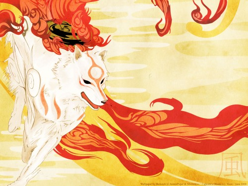 Okami, Amaterasu, Vector Art Wallpaper