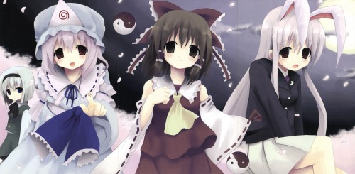 Siro, Touhou, Reimu Hakurei, Yuyuko Saigyouji, Youmu Konpaku