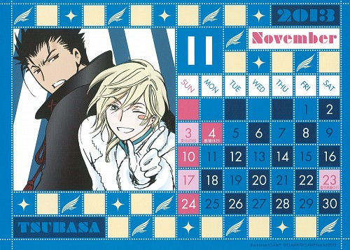 CLAMP, Tsubasa Reservoir Chronicle, CLAMP Calendar 2013, Kurogane, Fay D. Flourite