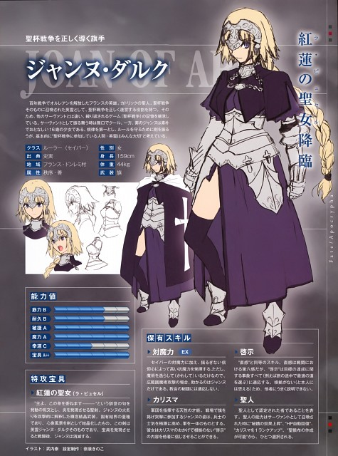 Ototsugu Konoe, Closet Child, Fate/Apocrypha, Joan of Arc, Character Sheet
