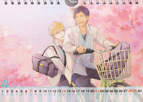 Kuroko no Basket, Aoki School Calendar 2013-2014, Daiki Aomine, Ryouta Kise, Calendar