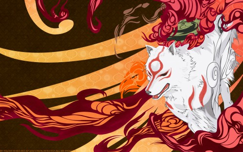 Capcom, Okami, Amaterasu, Vector Art Wallpaper