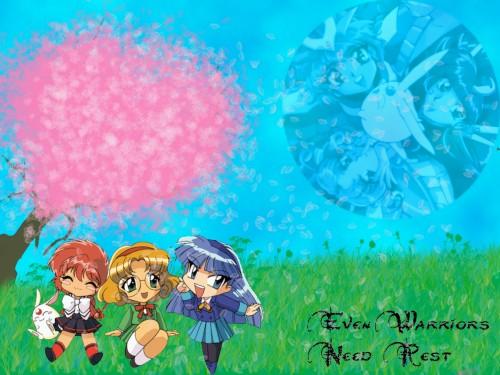 CLAMP, Magic Knight Rayearth, Mokona, Fuu Hououji, Umi Ryuuzaki Wallpaper