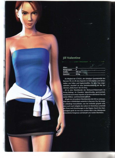 Capcom, Resident Evil 3: Nemesis, Jill Valentine, Character Sheet