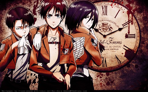 Production I.G, Shingeki no Kyojin, Eren Yeager, Mikasa Ackerman, Levi Ackerman Wallpaper