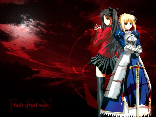TYPE-MOON, Fate/stay night, Rin Tohsaka, Saber Wallpaper