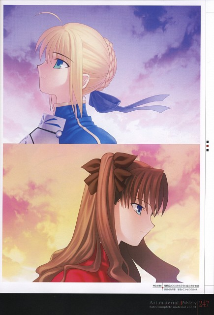 TYPE-MOON, Fate/complete material I Art material., Fate/stay night, Rin Tohsaka, Saber