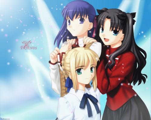 TYPE-MOON, Fate/stay night, Sakura Matou, Rin Tohsaka, Saber Wallpaper