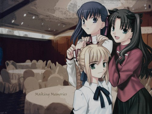 TYPE-MOON, Fate/stay night, Rin Tohsaka, Saber, Sakura Matou Wallpaper