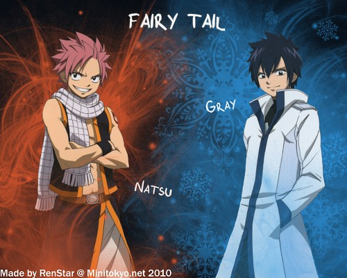 Hiro Mashima, Satelight, Fairy Tail, Natsu Dragneel, Gray Fullbuster Wallpaper