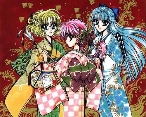 CLAMP, Magic Knight Rayearth, Fuu Hououji, Umi Ryuuzaki, Hikaru Shidou Wallpaper