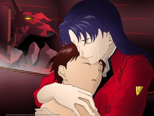 Yoshiyuki Sadamoto, Neon Genesis Evangelion, Shinji Ikari, Misato Katsuragi Wallpaper