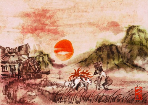 Capcom, Okami Official Illustrations Collection, Okami, Kushi, Amaterasu
