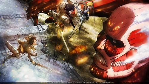 Hajime Isayama, Production I.G, Shingeki no Kyojin, Armin Arlert, Mikasa Ackerman Wallpaper