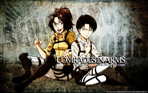 Production I.G, Shingeki no Kyojin, Hange Zoe, Levi Ackerman Wallpaper