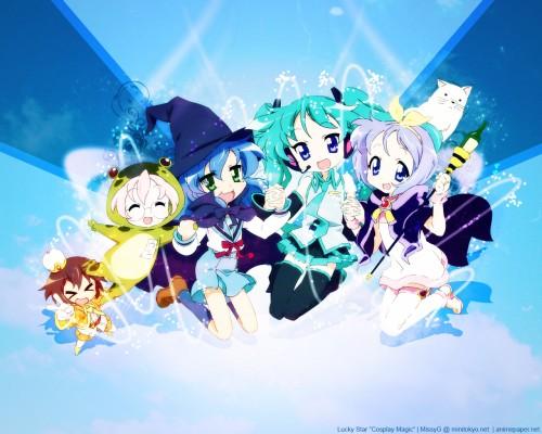 Lucky Star, Kagami Hiiragi, Misao Kusakabe, Miyuki Takara, Tsukasa Hiiragi Wallpaper