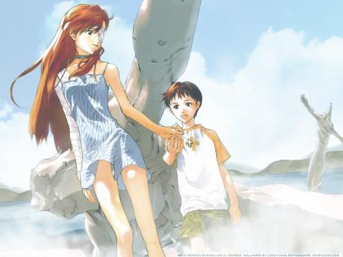 Yoshiyuki Sadamoto, Neon Genesis Evangelion, Shinji Ikari, Asuka Langley Soryu Wallpaper
