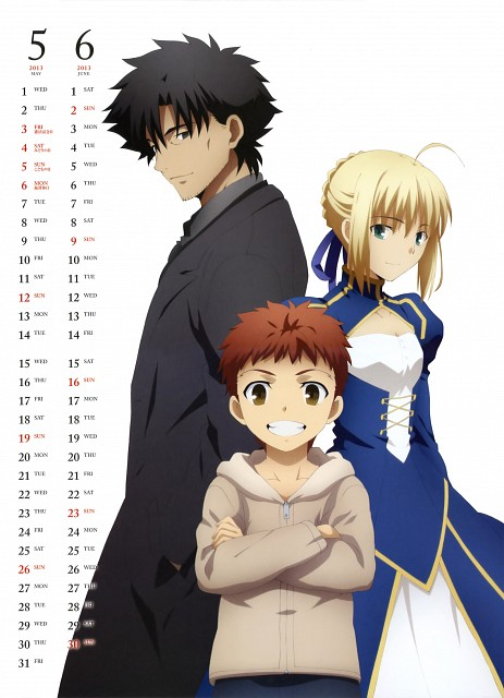 TYPE-MOON, Ufotable, Fate/Zero, TYPE-MOON Calendar 2013, Saber
