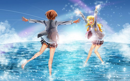 Aniplex, A-1 Pictures, Shigatsu wa Kimi no Uso, Tsubaki Sawabe, Kaori Miyazono Wallpaper