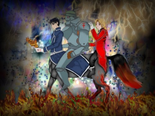 Hiromu Arakawa, BONES, Fullmetal Alchemist, Alphonse Elric, Roy Mustang Wallpaper