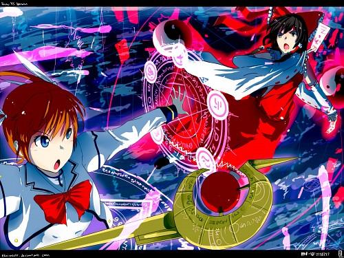 Mahou Shoujo Lyrical Nanoha StrikerS, Touhou, Reimu Hakurei, Nanoha Takamachi Wallpaper