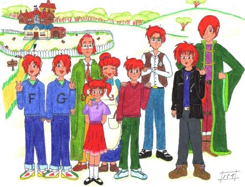 Harry Potter, Ginny Weasley, George Weasley, Ron Weasley, Fred Weasley