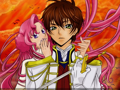 Sunrise (Studio), Lelouch of the Rebellion, Euphemia Li Britannia, Suzaku Kururugi, Vector Art Wallpaper