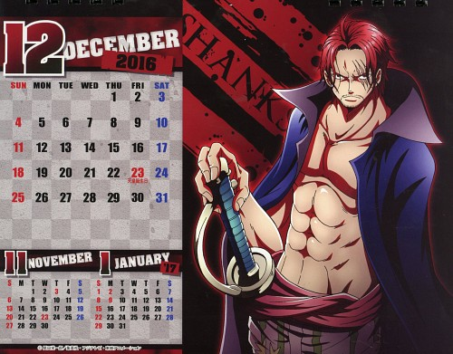 Eiichiro Oda, Toei Animation, One Piece, One Piece Body Calendar 2016, Shanks