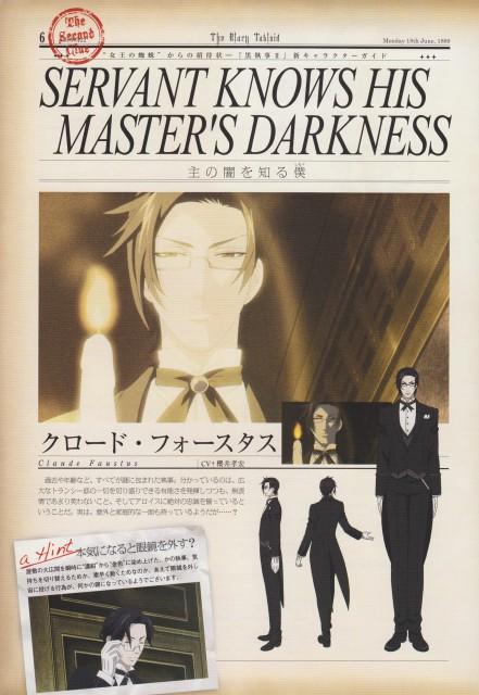 A-1 Pictures, Kuroshitsuji, The Black Tabloid, Claude Faustus, Character Sheet