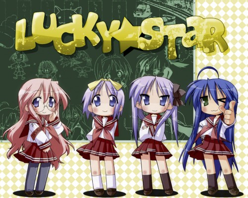 Lucky Star, Miyuki Takara, Kagami Hiiragi, Konata Izumi, Tsukasa Hiiragi Wallpaper