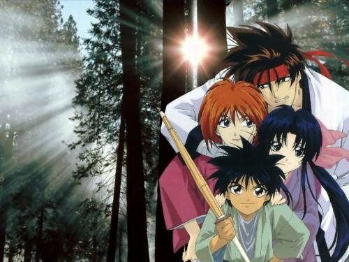 Rurouni Kenshin, Yahiko Myoujin, Sanosuke Sagara, Kaoru Kamiya, Kenshin Himura Wallpaper