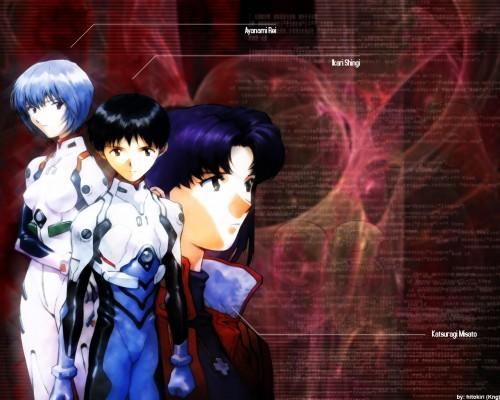 Yoshiyuki Sadamoto, Neon Genesis Evangelion, Shinji Ikari, Rei Ayanami, Misato Katsuragi Wallpaper