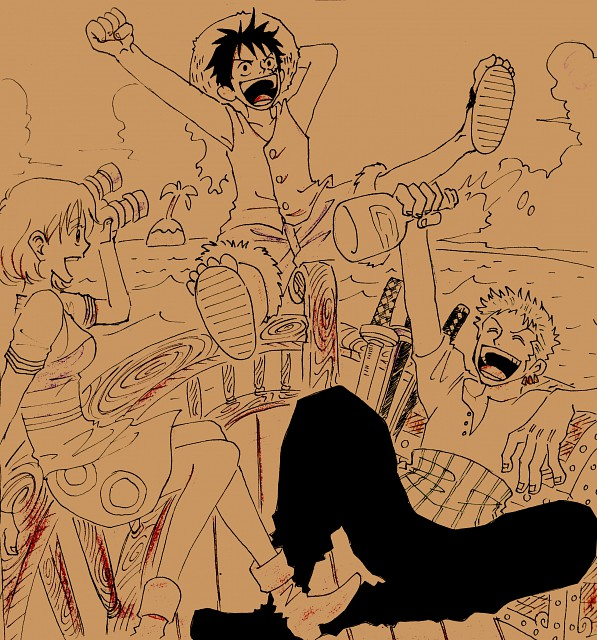 One Piece, Monkey D. Luffy, Nami, Roronoa Zoro, Member Art