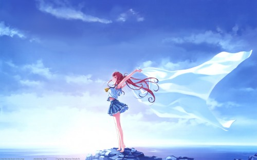 Kurehito Misaki, Deep Blue Sky & Pure White Wings Wallpaper