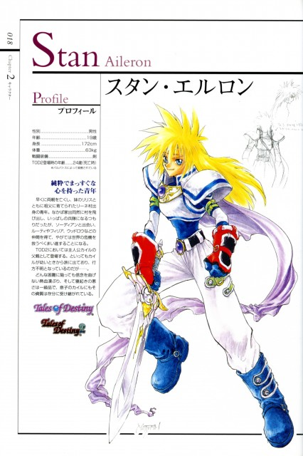 Namco, Tales of Destiny, Stan Aileron, Character Sheet
