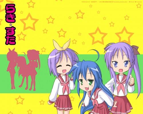 Lucky Star, Konata Izumi, Kagami Hiiragi, Tsukasa Hiiragi Wallpaper