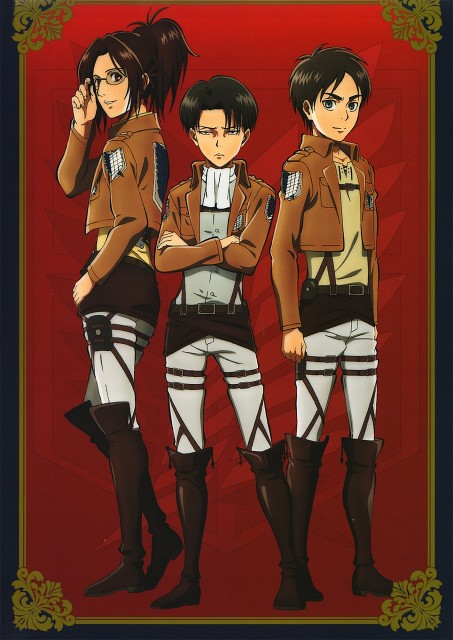 Production I.G, Shingeki no Kyojin, Hange Zoe, Eren Yeager, Levi Ackerman