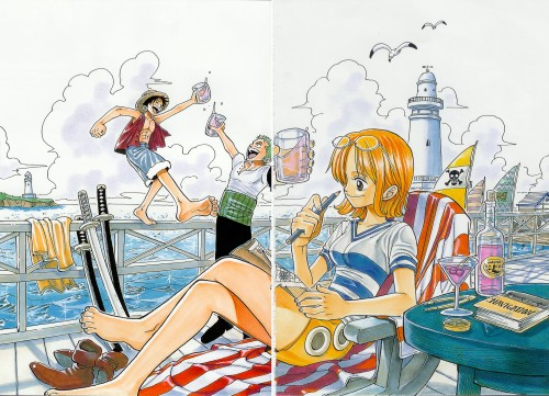 Eiichiro Oda, One Piece, Color Walk 1, Nami, Roronoa Zoro